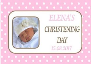 Girl Pink Photo Polka Dots Christening Chocolate Candy Bar Wrapper